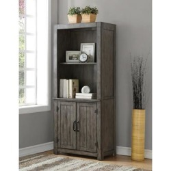 The Gray Barn Raven Gulch Smoked Grey Wood Bookcase found on Bargain Bro from Overstock for USD $571.47