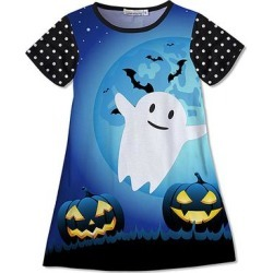 Sunshine Swing Girls' Casual Dresses - Blue & Black Ghost Pumpkin Shift Dress - Girls found on Bargain Bro Philippines from zulily.com for $13.99