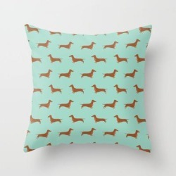 """Red Dachshund Chocolate Tan Sausage Dog On Mint Green Background Dog Pattern For Dog Lover Couch Throw Pillow by Civic-art - Cover (16"""" x 16"""") with pillow insert - Indoor Pillow"""