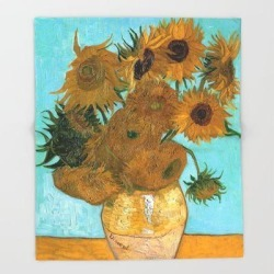 Throw Blanket   Vincent Van Gogh - Still Life Vase With Twelve Sunflowers by Elegant Chaos Gallery - 51