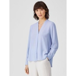 Silk Georgette Crepe V-neck Shirt - Blue - Eileen Fisher Tops found on Bargain Bro India from lyst.com for $278.00