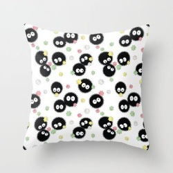 Couch Throw Pillow | Cute Soot Sprites With Candy by Pi Design Prints - Cover (16