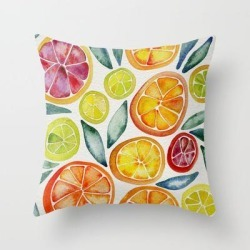 Couch Throw Pillow | Sliced Citrus Watercolor by Cat Coquillette - Cover (16