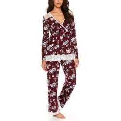 Lamaze Maternity Intimates Women's Sleep Bottoms WINE - Wine Floral Lace-Accent Nursing Pajama Set found on Bargain Bro India from zulily.com for $21.99