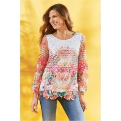 Women's Flores Tunic Top by Soft Surroundings, in Floral Ombre size XS (2-4)