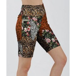 Lily Women's Active Shorts BRN - Brown & White Floral Animal-Print Pocket Bike Shorts - Women & Plus found on Bargain Bro India from zulily.com for $12.99