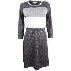 Calvin Klein Women's Belted Metallic Colorblocked Sweater Dress (Charcoal - S), Black(acrylic) found on Bargain Bro from Overstock for USD $49.39