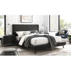 Loft Lyfe Platform Bed - Linen/ Walnut Tapered Legs (Charcoal - Queen), Black found on Bargain Bro from Overstock for USD $725.79