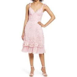 Crochet Corset Cocktail Dress - Pink - Chi Chi London Dresses found on MODAPINS from lyst.com for USD $130.00