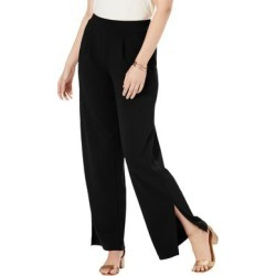 Plus Size Women's Knit Crepe Side-Slit Pant by Jessica London in Black (Size 14 W) found on Bargain Bro Philippines from Roamans.com for $44.99