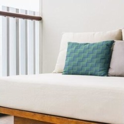Rockport Color Contrast Basketweave Outdoor Lumbar Pillow by Havenside Home (Blue & Green - N/A), Multicolor(Synthetic Fiber, Stripe) found on Bargain Bro Philippines from Overstock for $49.99