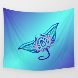 "Wall Hanging Tapestry | Tribal Manta Ray by Artsytoocreations - 51"" x 60"" - Society6"