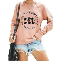 Letter Print Long Sleeve Round Neck Sweatshirt (Pink - XL), Women's(cotton) found on Bargain Bro India from Overstock for $30.35