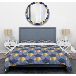 Designart 'Retro Luxury Waves in Gold and Blue VIII' Mid-Century Duvet Cover Set found on Bargain Bro from Overstock for USD $89.79