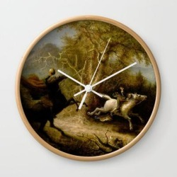 John Quidor Legend Of Sleepy Hollow Headless Horseman Pursuing Ichabod Crane 1858 Wall Clock by Colorfuldesigns - Natural - White found on Bargain Bro India from Society6 for $22.39