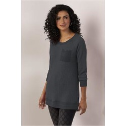 Women Autumn Waffle T-Shirt by Soft Surroundings, in Black size 1X (18-20)