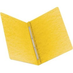 """Smead 81852 8 1/2"""" x 11"""" Yellow PressGuard Side Opening Report Cover with Prong Fasteners - 3"""" Capacity, Letter"""