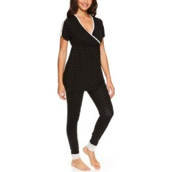 Lamaze Maternity Intimates Women's Sleep Bottoms BLK - Black Polka Dot Lace-Trim Nursing Pajama Set found on Bargain Bro India from zulily.com for $18.99