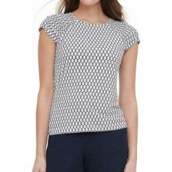Tommy Hilfiger Womens Blouse White Small S Printed Ruched-Sleeve Top found on Bargain Bro from Overstock for USD $17.46