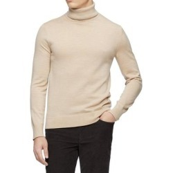 Calvin Klein Mens Sweater Heather Beige Size 2XL Ribbed Trim Turtleneck (2XL), Men's(wool) found on Bargain Bro Philippines from Overstock for $47.98