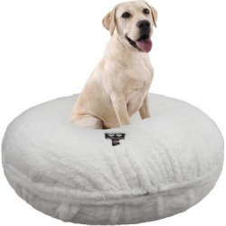 Bessie and Barnie Signature Polar Bear Luxury Extra Plush Faux Fur Bagel Pet Bed, 30