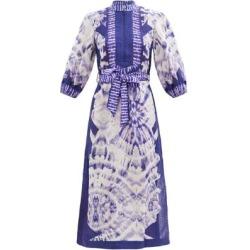 Lulu Tie-dye Belted Linen Kaftan - Blue - Zimmermann Beachwear found on Bargain Bro from lyst.com for USD $528.20