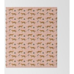 Bed Throw Blanket | Big Cat Pattern Softpink by Grace - 51