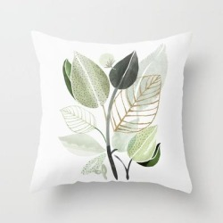 Couch Throw Pillow | Forest Bouquet - Green Leaves Watercolor by Modern Tropical - Cover (16