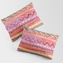 King Size Pillow Sham | Hand Painted Bright Patterned Stripes by Melanie Biehle | Visual Artist - STANDARD SET OF 2 - Cotton - Society6 found on Bargain Bro from Society6 for USD $30.39