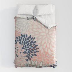 Comforters | Festive, Modern, Floral Prints, Pink, Navy, Gray by Megan Morris - Queen: 88