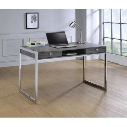 Coaster Company Weathered Grey Wood and Chrome Writing Desk (Drawers - Chrome Finish - Chrome/Metal), Gray found on Bargain Bro Philippines from Overstock for $242.49