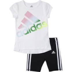 adidas Girls' Active Shorts BLACK - White Logo Tee & Black Logo Bike Shorts - Girls found on Bargain Bro Philippines from zulily.com for $22.99