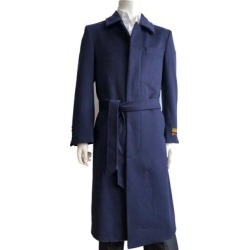 Mens Classic French Front Belted Overcoat in Navy found on Bargain Bro from Overstock for USD $133.00