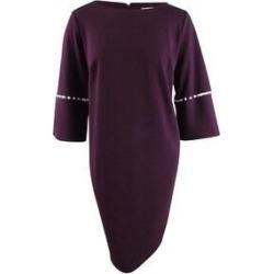 Calvin Klein Women's Plus Size Imitation-Pearl-Trim Sheath Dress (20W Aubergine) (Aubergine)(polyester) found on Bargain Bro Philippines from Overstock for $79.99