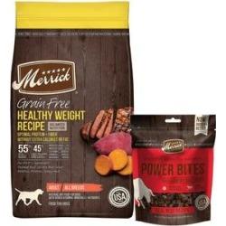 Merrick Grain-Free Dry Food Healthy Weight Recipe + Power Bites Real Texas Beef Recipe Grain-Free Soft & Chewy Dog Treats