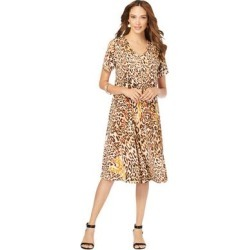 Plus Size Women's Ultrasmooth Fabric V-Neck Swing Dress by Roaman's in Natural Leopard (Size 18/20) found on Bargain Bro Philippines from fullbeauty for $54.99