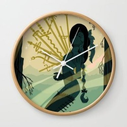 10 Of Swords Wall Clock by Sara Kipin - Natural - White found on Bargain Bro from Society6 for USD $17.02