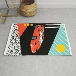 Modern Throw Rug | Wicked - Sports Car 80s Retro Throwback Memphis Style Motorhead by Wacka - 2' x 3' - Society6 found on Bargain Bro from Society6 for USD $29.79