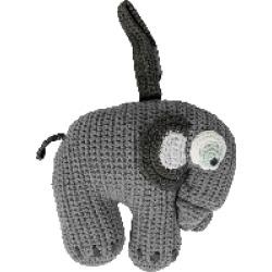 Sebra - Grey Crochet Musical Elephant Toy - Grey