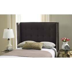 Safavieh Keegan Chocolate Linen Upholstered Tufted Wingback Headboard (Full) , Brown found on Bargain Bro Philippines from Overstock for $175.99