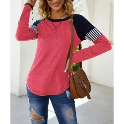 Camisa Women's Blouses Red - Red Color-Block Stripe Long-Sleeve Tee - Women found on Bargain Bro from zulily.com for USD $12.91