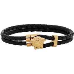 Black & Gold Leather Medusa Bracelet - Black - Versace Bracelets found on Bargain Bro from lyst.com for USD $171.00