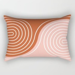 "Geometric Lines In Terracotta Rose Gold 19 (rainbow And Lines Abstraction) Rectangular Pillow by Nineflorals - Small (17"" x 12"")"