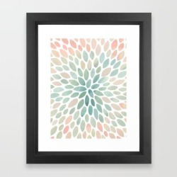 Framed Art Print   Floral Bloom, Abstract Watercolor, Coral, Peach, Green, Floral Prints by Megan Morris - Vector Black - X-Small-10x12 - Society6 found on Bargain Bro from Society6 for USD $23.93