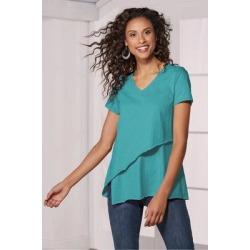 Women Leora T-Shirt by Soft Surroundings, in Aruba Blue size 1X (18-20)