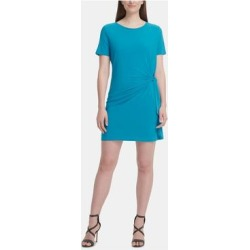petite DKNY Turquoise Short Sleeve Mini Dress M (Turquoise - M), Women's, Blue(knit, check) found on Bargain Bro from Overstock for USD $18.91