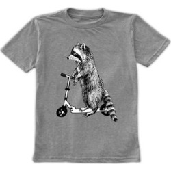 Urban Smalls Boys' Tee Shirts Heather - Heather Gray Scooter Raccoon Crewneck Tee - Toddler & Boys found on Bargain Bro from zulily.com for USD $9.11