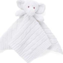 Baby Mode Signature White Baby White Knit Elephant Security Blanket