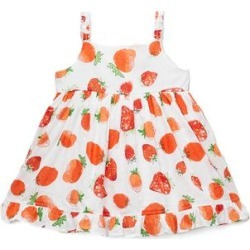 Sweetdil Girls' Casual Dresses - Red Strawberry Swiss Dot Sleeveless Ruffle-Hem A-Line Dress - Toddler & Girls found on Bargain Bro Philippines from zulily.com for $17.99