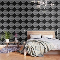 Diamond Stripe Geometric Block Print In Black And White Peel And Stick Wallpaper by Becky Bailey - 2' X 8' found on Bargain Bro India from Society6 for $69.30
